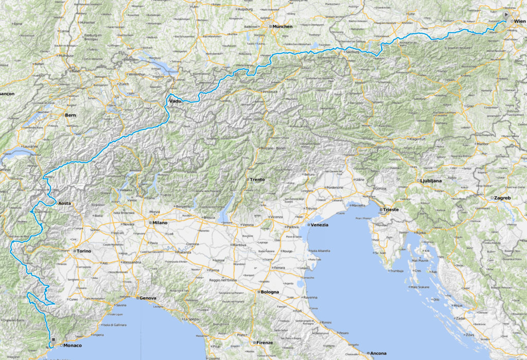 Route Charity Cycling Challenge 2019 Wien - Nizza